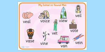 Initial v Sound Mat - initial v, sound, sounds, mat, visual aid