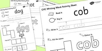 CVC Writing Word Activity Sheet Pack 'o' with British Sign Language, worksheet