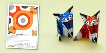 Enkl Origami Fox Printable - Enkl, arts, crafts, activity, adult, home, decor, designer, designer, decoration, interior, project, printable, cute, simple, paper, models, 3D, shape, colour, fox, origami