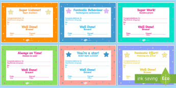 End of term Award Certificates English/Polish -  scroll, reward, certificate, medal, rewards, school ,Polish-translation