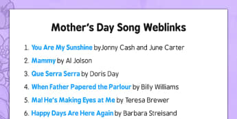 Elderly Care Mother's Day Song Weblinks - Elderly, Reminiscence, Care Homes, Mother's Day