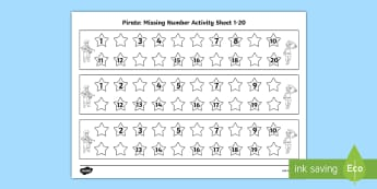 Pirate Missing Number 1-20 Activity Sheet - Pirate Missing Number 1-20 Activity Sheet - missing, number, sheet, activity sheet, worksheet, pirat
