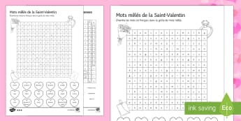 Valentine's Day Higher Ability Differentiated Word Search - Valentine's Day, French, 14th February, Saint Valentin, mots mêlés, soupe de mots, word search,Fr
