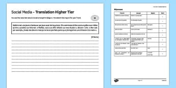 Social Media Higher Tier Translation Activity Sheet, worksheet