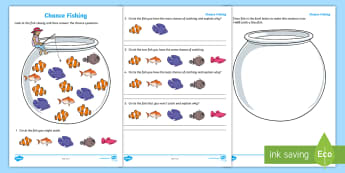Year 1 Chance Fishing Activity Sheet - Mathematics, Year 1, Statistics and Probability, Chance, ACMSP024, it will happen, it might happen,