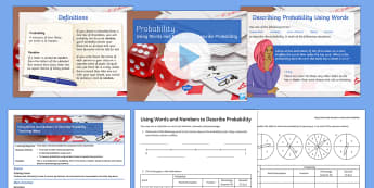 Introduction to Probability Lesson Pack - probability, probability scale, likely, even chance, unlikely, certain, impossible, chance, single e