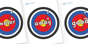 Next 200 Common Words on Archery Targets - Next 200 Common Words on  - DfES Letters and Sounds, Letters and Sounds, Letters and sounds words, Common words, 200 common words