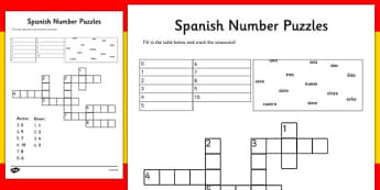 Spanish Numbers 1-10 Crossword and Fill in Puzzle - spanish, spanish numbers, spanish number practise, spanish number puzzles, spanish number worksheet