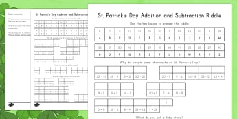 St. Patrick's Day Math Riddles Activity Sheet - St. Patrick's Day, addition, subtraction, multiplication, division, riddles, shamrock, joke, math f