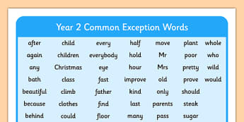 Year 2 Common Exception Words - year 2, common exception, words, common, exception