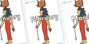 Months of the Year on Egyptian Women - Months of the Year, Months poster, Months display, display, poster, frieze, Months, month, January, February, March, April, May, June, July, August, September