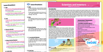 CfE Science Year 1 Scientists and Inventors Overview
