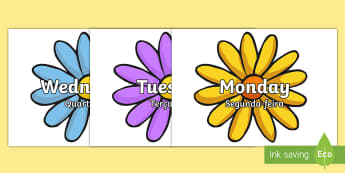 Days of the Week on Flowers Labels English/Portuguese - Days of the Week on Flowers - days, week, display, visual aid, flashcards, days of the wek, days pf