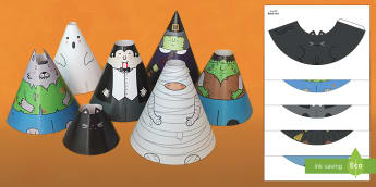 Halloween Cone Characters Arabic/English  - crafts, activity, art, arabic translation