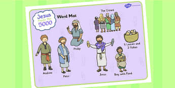 Jesus Feeds the 5000 Bible Story Word Mat - aid, literacy, visual