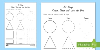 2D Shape Colour, Trace and Join the Dots Activity - Maths in ECE, shapes, rectangle, triangle, circle, square, fine motor skills, 2D shape