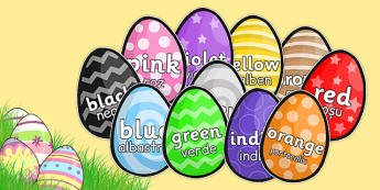 Colour Words on Easter Eggs Romanian Translation - romanian, colours, colour words, easter, egg