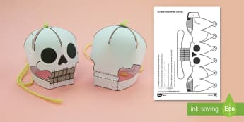 Simple 3D Halloween Skull Activity Display Paper Craft