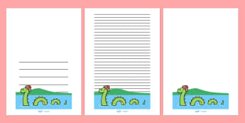 Loch Ness Monster Writing Frames - Loch Ness, Loch Ness Monster, Scotland, monster, lake, writing template, writing frames, word cards, flashcards, template, does it exist, Scottish Highlands, Niseag, dinosaur-like, existence