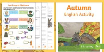 Year 4 Autumn English Activity Booklet - holiday booklet, homework booklet, y4, spag, writing activity, reading activity,