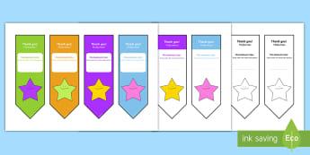 Editable Thank You Bookmarks English/Romanian - Editable Thank You bookmark, bookmark, bookmark template,  gift,  present, book, reward, achievement