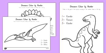 Dinosaurs Colour by Number Māori - counting, nz, new zealand, maths, colouring, numbers, ten, dinosaurs, dinosaur, count
