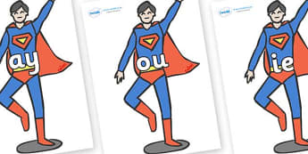 Phase 5 Phonemes on Superhero - Phonemes, phoneme, Phase 5, Phase five, Foundation, Literacy, Letters and Sounds, DfES, display
