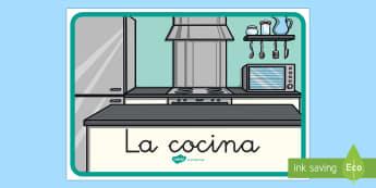 Cartel: La cocina - Decoración de la clase, la cocina, comer, comida, cocinar, cartel, poster