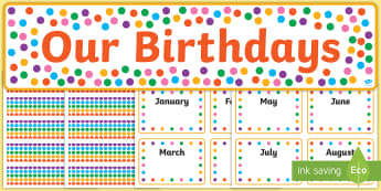 Multicoloured Polka Dot Birthday Display Pack - Multicoloured Stars Editable Gratnell Tray Labels - star, labels, stardesign tray labels editable, l