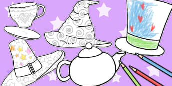 Mad Hatters Tea Party Colouring Sheets - colouring, sheets, party