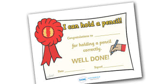 I Can Hold a Pencil Certificates - education, home school, free