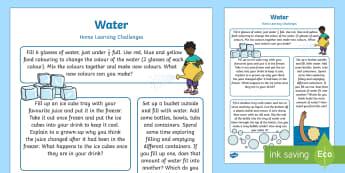 EYFS Water Home Learning Challenges Nursery FS1 - EYFS Water, water cycle, rain, rivers, sea, oceans, explore water, home learning, homework, parents,