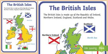 British Isles Display Poster - The United Kingdom Display Poster - geography, countries, display, georgraphy, UK, britain, map of t