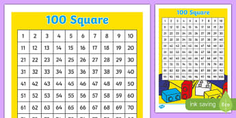 Building Bricks Number Square - building bricks, lego, number square, number, square, 100, maths, mathematics
