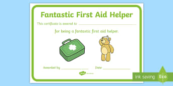 Fantastic First Aid Helper Certificate - first aid, helper, achievement, certificate, breaktime helper,Irish