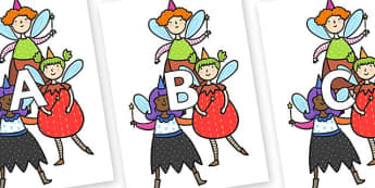 A-Z Alphabet on Good Fairies - A-Z, A4, display, Alphabet frieze, Display letters, Letter posters, A-Z letters, Alphabet flashcards