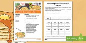 Fiche de conjugaison : Le présent de l'impératif dans une recette - recette, conjugaison, impératif, pâte à crêpes, KS2, cycle3, pancake batter, recipe,French
