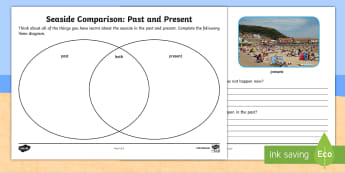 Seaside Past and Present Activity Sheet - history, comparison, change, difference,venn, compare, Worksheet