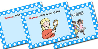Monday's Child PowerPoint - mondays child, monday's child, nursery rhymes, nursery rhyme powerpoint, monday's child nursery rhyme, days of the week