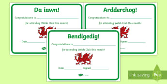Editable Welsh Club Certificates - Welsh Club, certificates, tysgysgrifau,praise, siarter iaith, welsh,Welsh