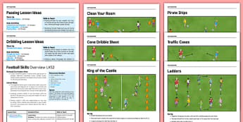 LKS2 Football Skills Pack - football, PE, sport, exercise, KS2, LKS2, Key Stage 2,  year 3, year 4, skills, physical education, ball skills, team sports