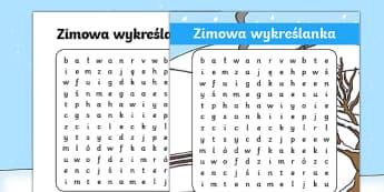 Karta Zimowa wykreślanka - wordsearch, word search, words, winter, winter wordsearch activity, word game, games, literacy, wet