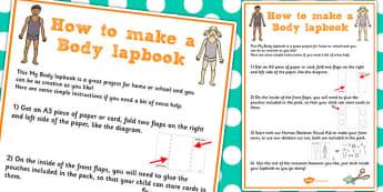 Body Lapbook Instructions Sheet - lapbooks, instructions, body