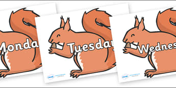 Days of the Week on Red Squirrels - Days of the Week, Weeks poster, week, display, poster, frieze, Days, Day, Monday, Tuesday, Wednesday, Thursday, Friday, Saturday, Sunday