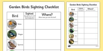 Garden Birds Sighting Checklist - garden, birds, sighting, checklist