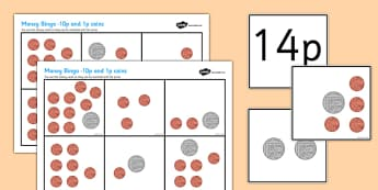 Money Bingo (10p & 1p Coins) - Money, coins, pounds, pence, foundation numeracy, coin, pay, bingo, game, shop, addition, prices, price