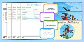 Blanks Levels Questions to Support Teaching on Room on the Broom - receptive language, expressive language, verbal reasoning, language delay, language disorder, comprehension, autism, Language for Thinking