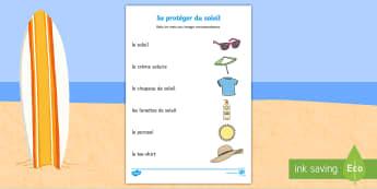 Feuille d'activités avec des mots et des images à relier : Se protéger du soleil - se protéger du soleil, soleil, été, plage, protection solaire, crème solaire, Summer, Sun & Beac