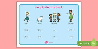 Mary Had a Little Lamb Word Mat - mary had a little lamb, nursery rhyme, rhyme, word mat