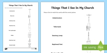 Things that I see in my church Word and Picture Matching Activity Sheet - Confession & First Communion Resources,Irish